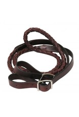"Showman ®  Showman ® 7.5ft Braided contest rein. 3/4"" thick braided leather contest rein with conway buckle ends."