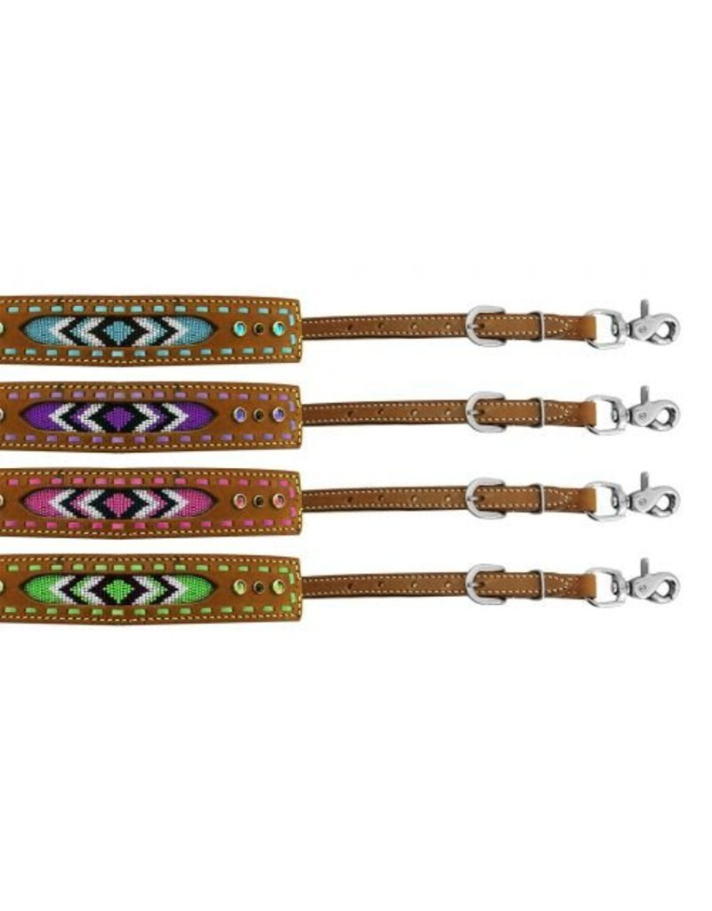 Showman ®  Showman ® Medium leather wither strap with beaded inlay.