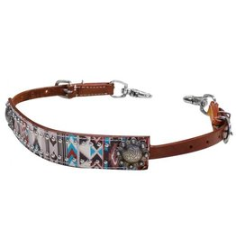 Showman ® Showman ® Multi color Navajo diamond print wither strap.