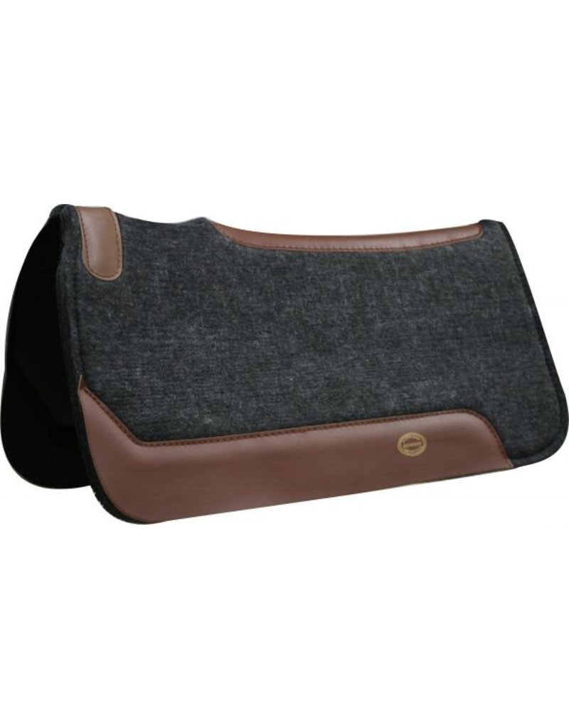 """Showman ® Showman™ 31"""" x 32"""" Black felt saddle pad with smooth neoprene back, contoured strip down back with cut out over wither, approximately 1"""" thick."""