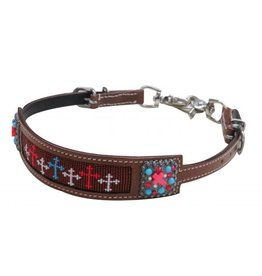 Showman ® Showman® Beaded Navajo wither strap with beaded cross conchos.