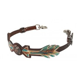 Showman ® Showman ® Medium leather wither strap with painted arrows and praying cowboy concho.