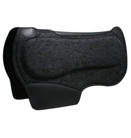 "Showman ® Showman™ 28"" x 31"" Airflow felt barrel saddle pad with shock foam bars.  Pad is 1/2"" thick and contoured with wither cut out. Features PVC wear leathers.  Made by Showman™ products."