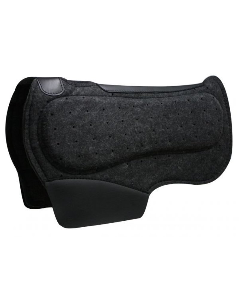 """Showman ® Showman™ 28"""" x 31"""" Airflow felt barrel saddle pad with shock foam bars.  Pad is 1/2"""" thick and contoured with wither cut out. Features PVC wear leathers.  Made by Showman™ products."""