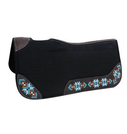 "Showman ® Showman® 32"" X 31"" X 1"" Black felt contoured pad with embroidered wear leathers."