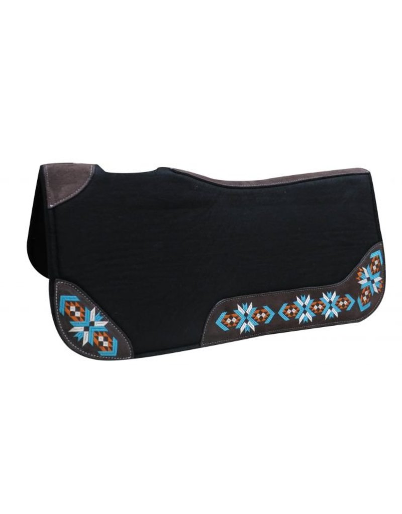 """Showman ®    Showman® 32"""" X 31"""" X 1"""" Black felt contoured pad with embroidered wear leathers. This pad features a 1"""" thick black felt and is accented with a Navajo embroidered design on suede wear leathers and has cut out withers and a leather reinforced spine."""