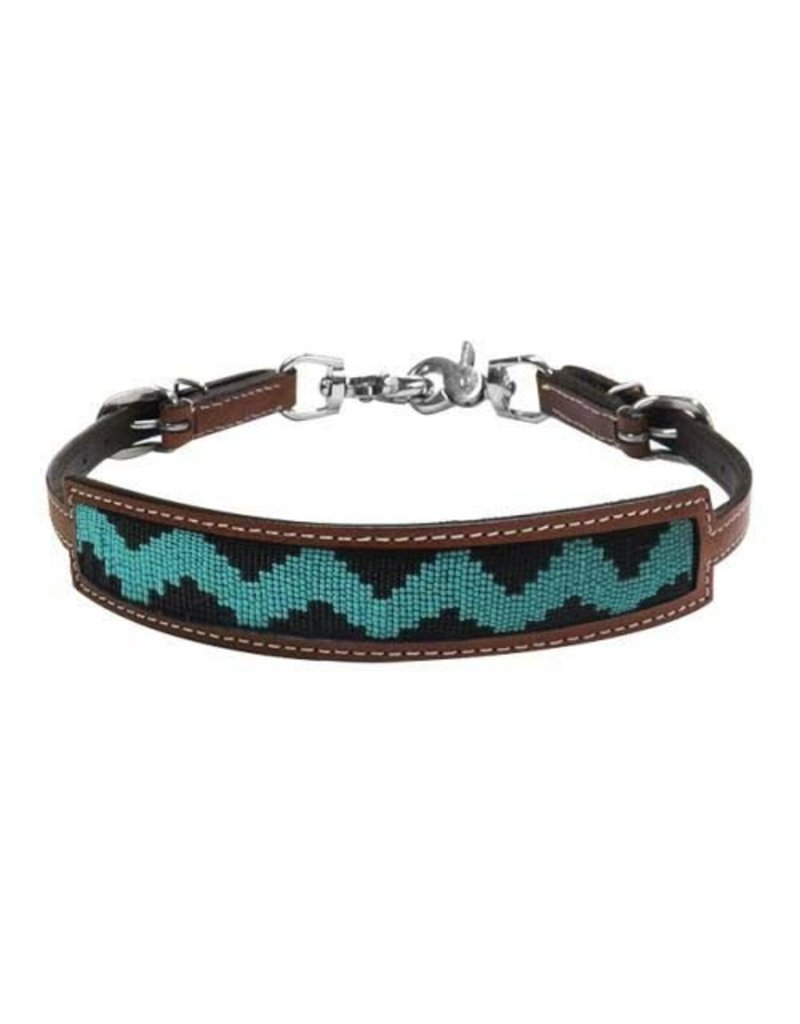 Showman ® Showman ® Medium leather wither strap with teal and black zig zag beaded inlay.
