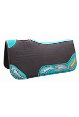 "Showman ® Showman ® 31"" x 32"" x 1"" Brown felt saddle pad with hand painted peacock design.  This pad features 1"" thick, heavy duty brown felt with vented wither, teal painted leather reinforced spine and oversized wear leathers. Wear leathers are accented with hand"