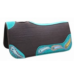 "Showman ® Showman ® 31"" x 32"" x 1"" Brown felt saddle pad with hand painted peacock design."
