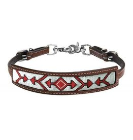 Showman ® Showman ® Medium leather wither strap with red beaded arrow design inlay.