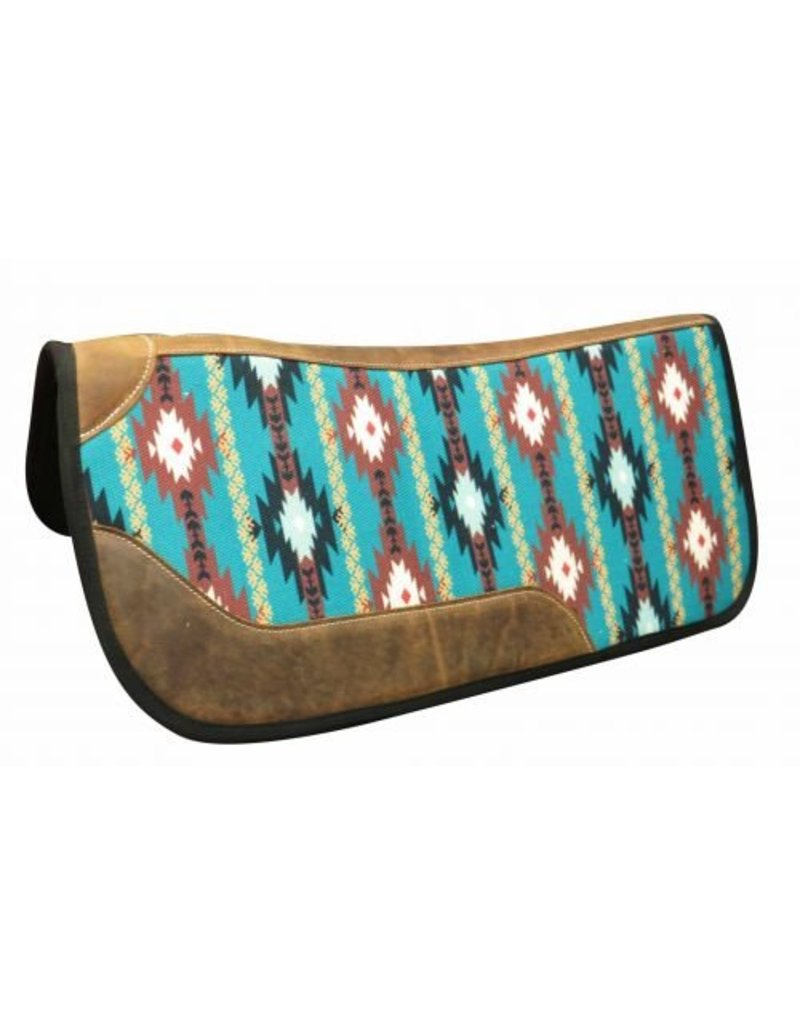 "Showman ® Showman ® 31"" x 32"" Felt bottom Navajo saddle pad. This contoured pad features a Navajo print design with leather reinforced spine and oversides wear leathers."