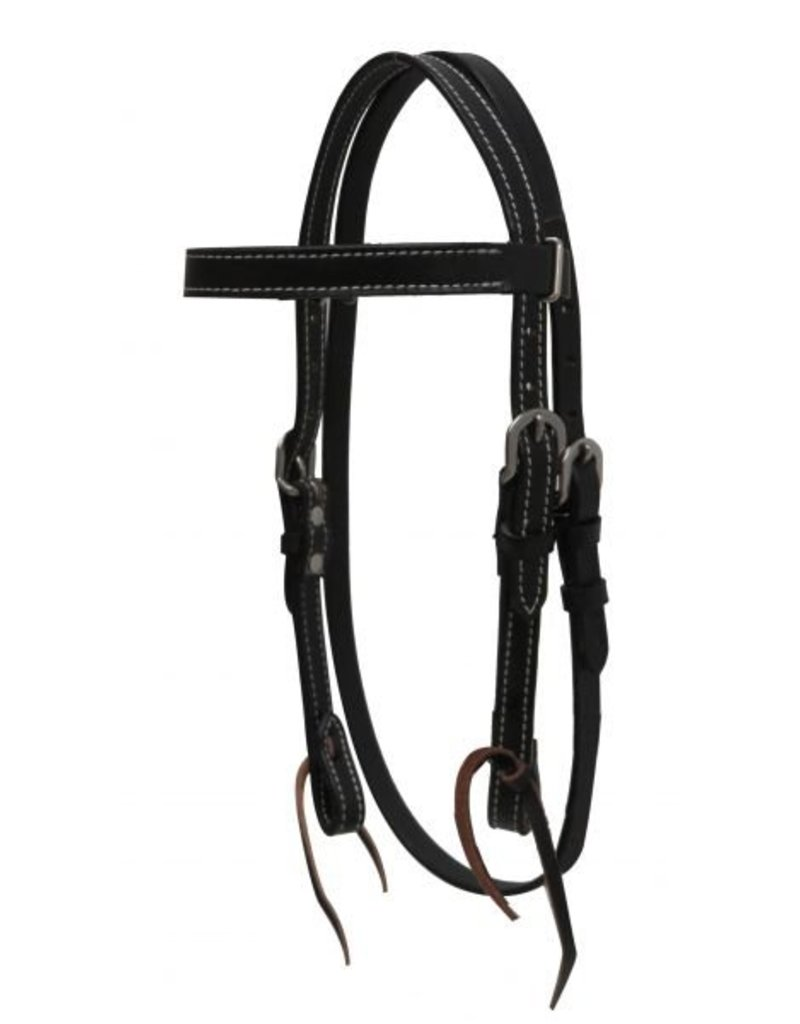 "Showman ® Showman ® PONY headstall with reins. This headstall features double stitched leather with stainless steel hardware and tie on bit loops.   Headstall adjusts 25"" - 31"" from bit loops and has a 13"" x 3/4"" browband."