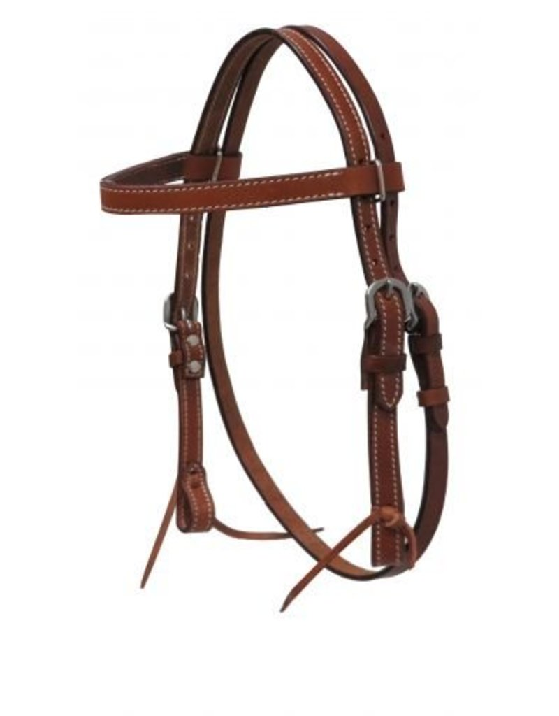 "Showman ® Showman ® MINI/ SMALL PONY headstall with reins. This headstall features double stitched leather with stainless steel hardware and tie on bit loops.   Headstall adjusts 22"" - 29"" from bit loops and has a 12"" x 3/4"" browband."
