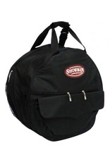 "Showman ® Showman ® Deluxe lariat rope carrying case.  Keep your gloves and lariats organized and clean. This bag features two main padded compartments, three zipper pockets and two outside pockets. Adjustable padded back straps and two hand straps. 20"" tall and wi"