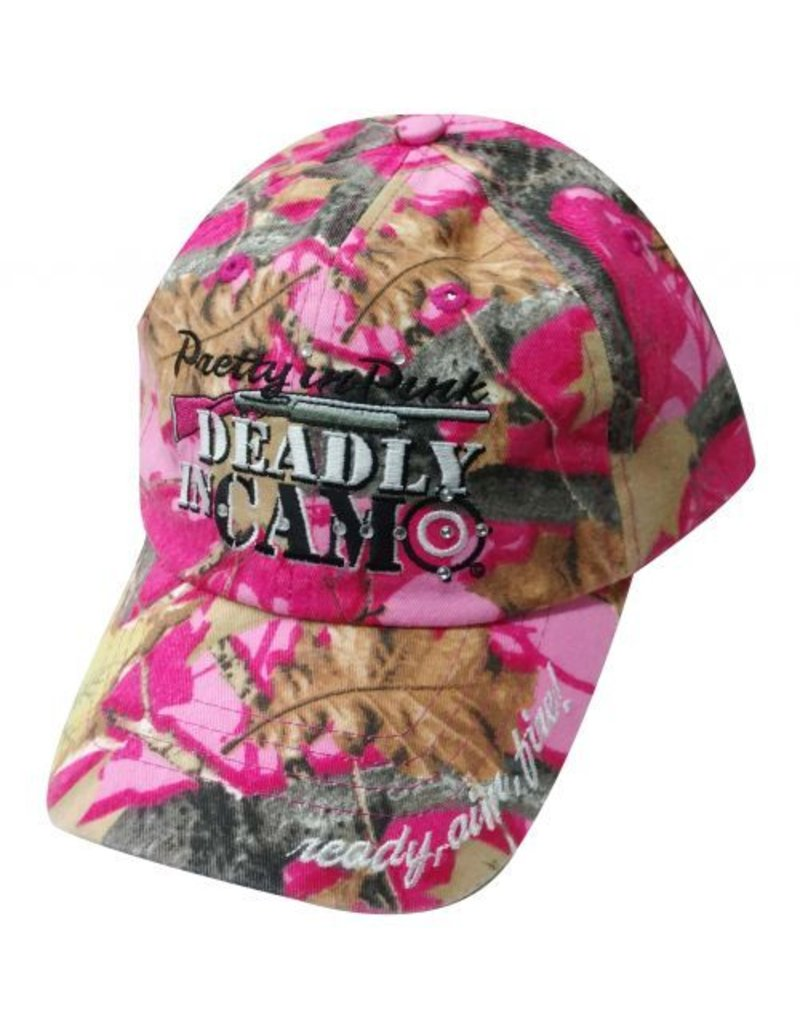 """ Pretty in pink, deadly in camo""  Pink camoflauge baseball hat."