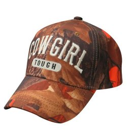 """ Cowgirl Tough"" orange camoflauge baseball hat."