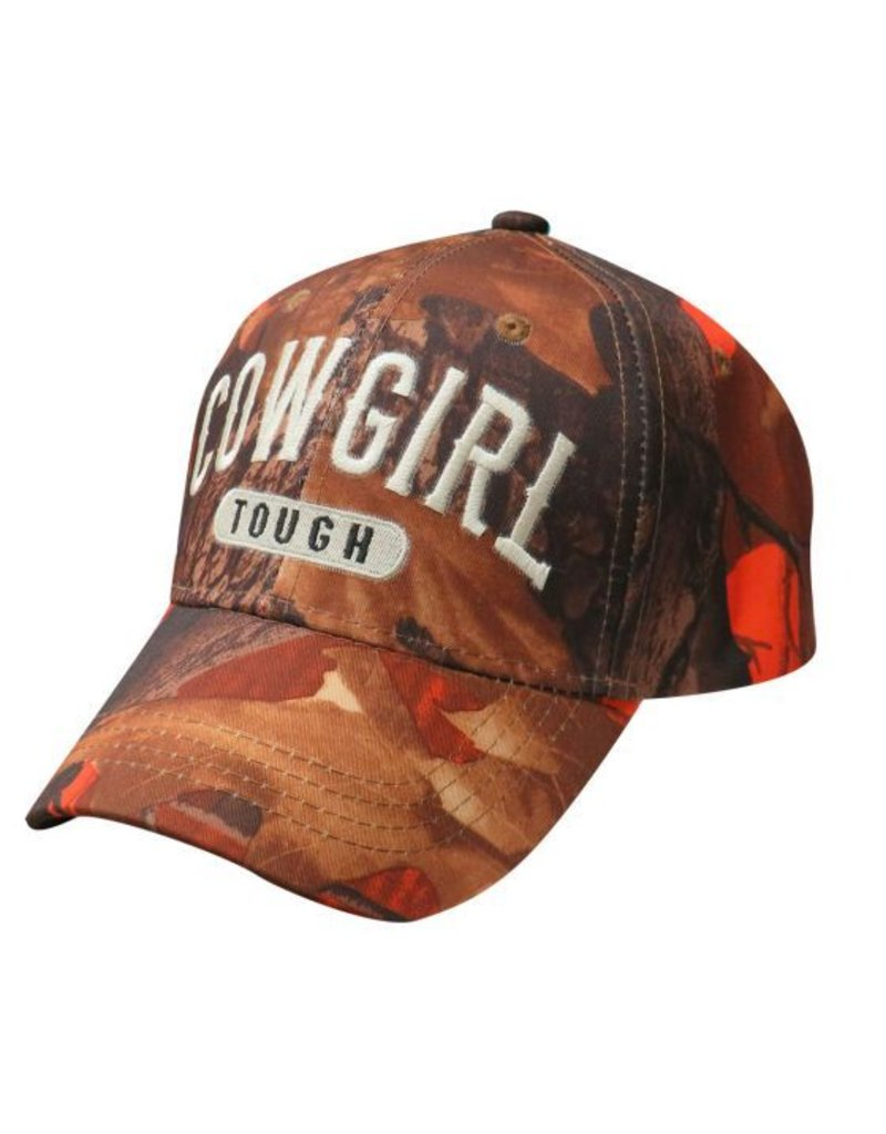 """ Cowgirl Tough"" orange camoflauge baseball hat."