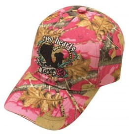 """ Two Hearts, One Love"" Pink camoflauge baseball hat."