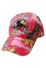 """ Breaking Hearts & Horses"" Pink camoflauge baseball hat."