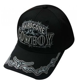 """ Hardcore Cowboy"" black baseball hat with silver embroidered design."