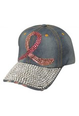 Showman ®  Showman Couture ™ Bling denim hat with crystal rhinestone pink ribbon.