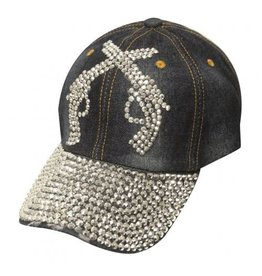 Showman ® Showman Couture ™ Bling denim hat with crystal rhinestone crossed guns.