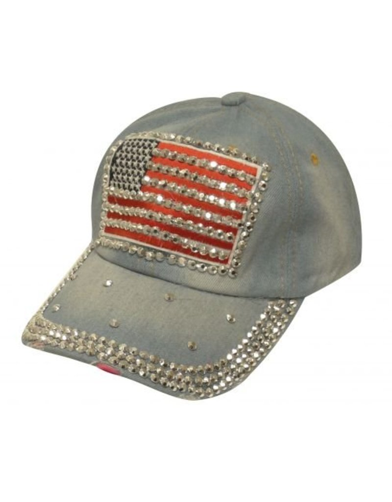 Showman ® Showman Couture ™ Bling denim hat with crystal rhinestone American flag