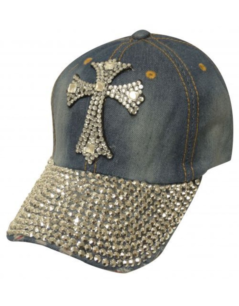 Showman ®  Showman Couture ™ Bling denim hat with crystal rhinestone cross.