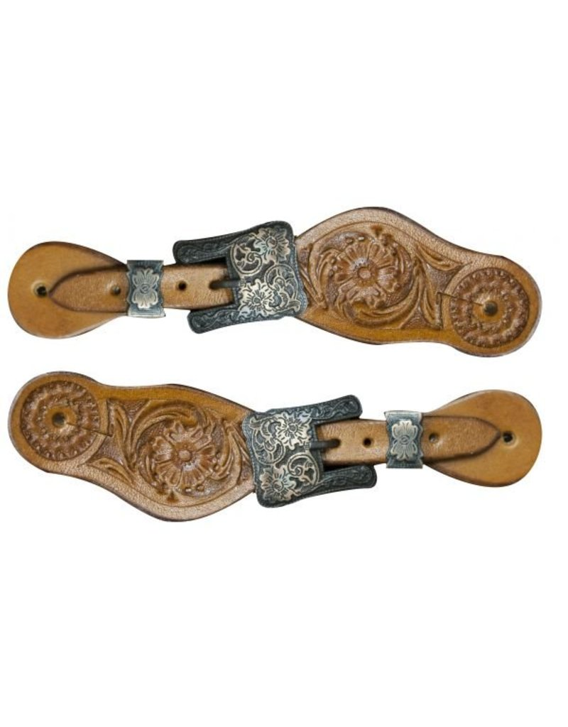 Showman ® Showman ® Youth size floral tooled spur straps with engraved antiqued brass buckles.