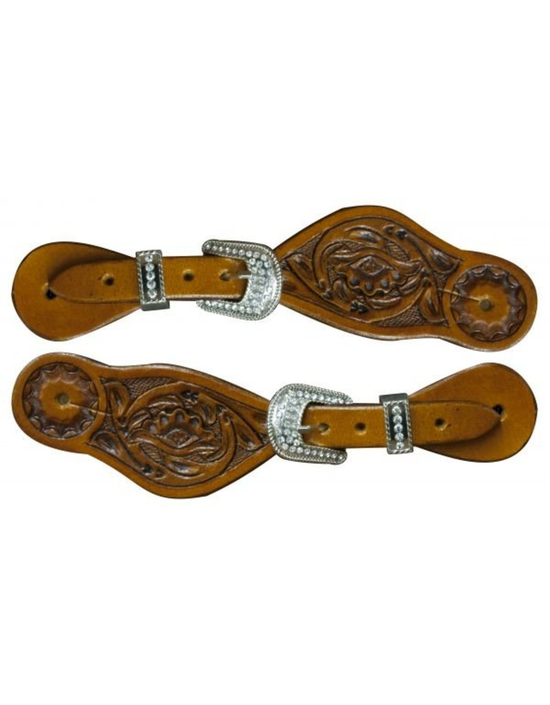 "Showman ® Showman ® Youth size floral tooled spur straps with crystal rhinestone buckles. Adjusts 7.5"" to 9"""
