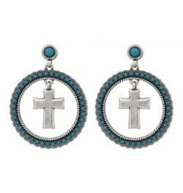 Montana Montana Silversmiths Round Dangle Turquoise Cross Earrings.