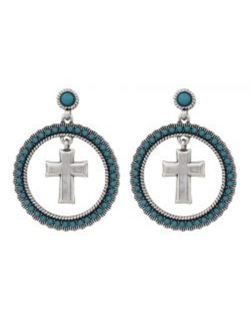 Montana Montana Silversmiths Round Dangle Turquoise Cross Earrings.