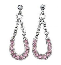 Montana Montana Silversmiths Pink Ice Lucky Horseshoe Dangle Earrings.