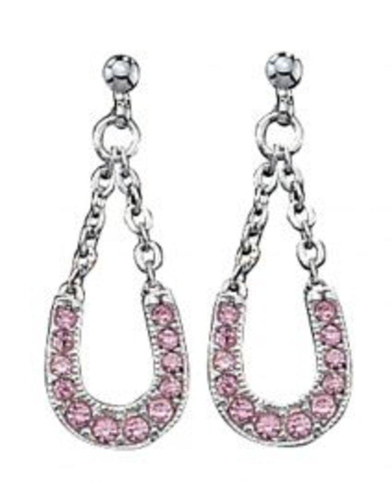 Montana Montana Silversmiths Pink Ice Lucky Horseshoe Dangle Earrings.
