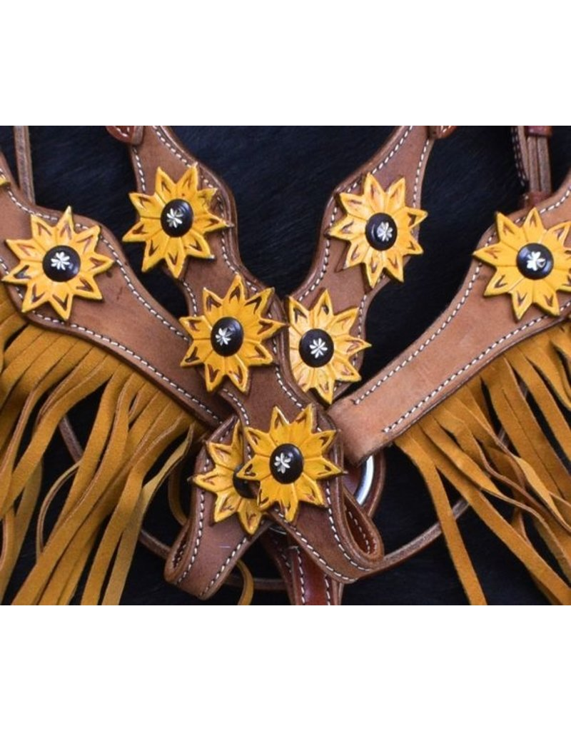 Showman ® Showman ® Sunflower Overlay Browband Headstall and Breastcollar Set