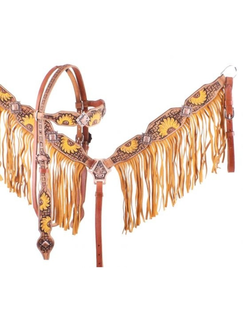 Showman ® Showman ® Hand Painted Sunflower Browband Headstall and Breastcollar Set with Fringe.