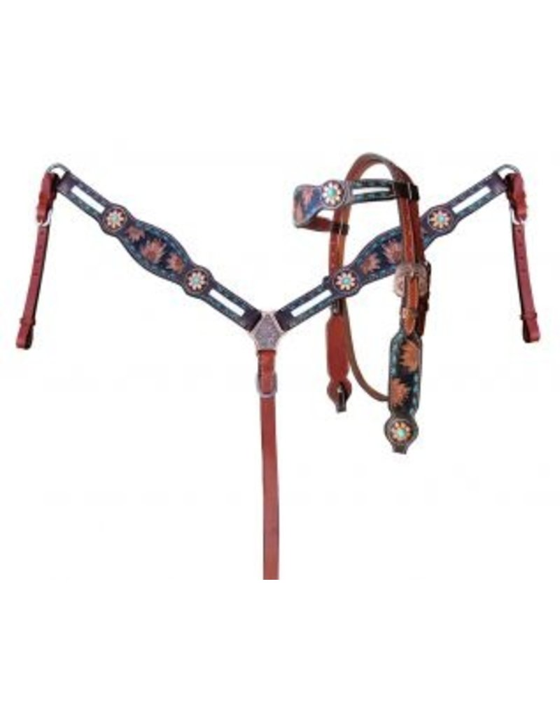 Showman ® Showman ® Sunflower Tooled Leather Browband headstall and breastcollar set with cowhide inlays.