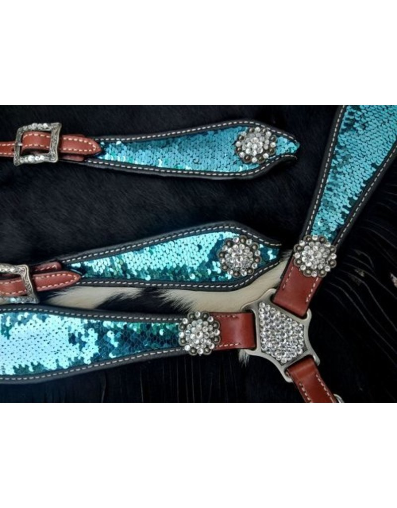 Showman ® Showman ® Turquoise and Silver Sequins Inlay Single Ear Headstall and Breast Collar Set with black suede leather fringe.