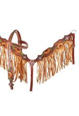 Showman ® Showman ® Hand Painted Sunflower and Cactus Browband Headstall and Breastcollar Set with Fringe. This set features a medium colored leather with hand painted sunflowers and cactus' throughout.