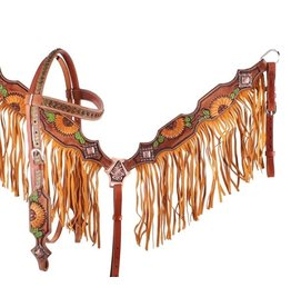 Showman ® Showman ® Hand Painted Sunflower and Cactus Browband Headstall and Breastcollar Set with Fringe.