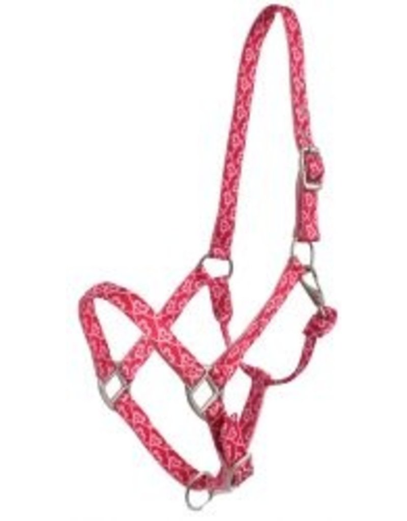 Showman ® Showman® Premium Nylon Horse Sized Halter with Pink Heart Design.