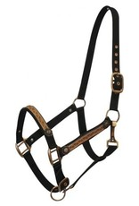 Black 2 ply Nylon Halter with Leather Overlay and Copper Hardware.