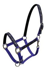 Triple ply Neoprene lined nylon horse size halter with barbwire design overlay.