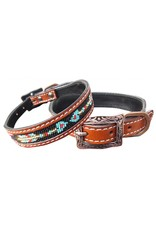 Showman ® Showman Couture ™ Genuine leather dog collar with a beaded arrow inlay.