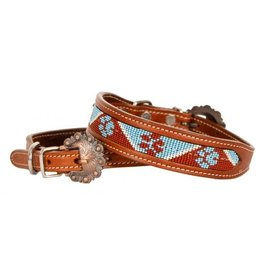 Showman ® Showman Couture ™ Beaded paw print inlay leather dog collar with copper buckle.