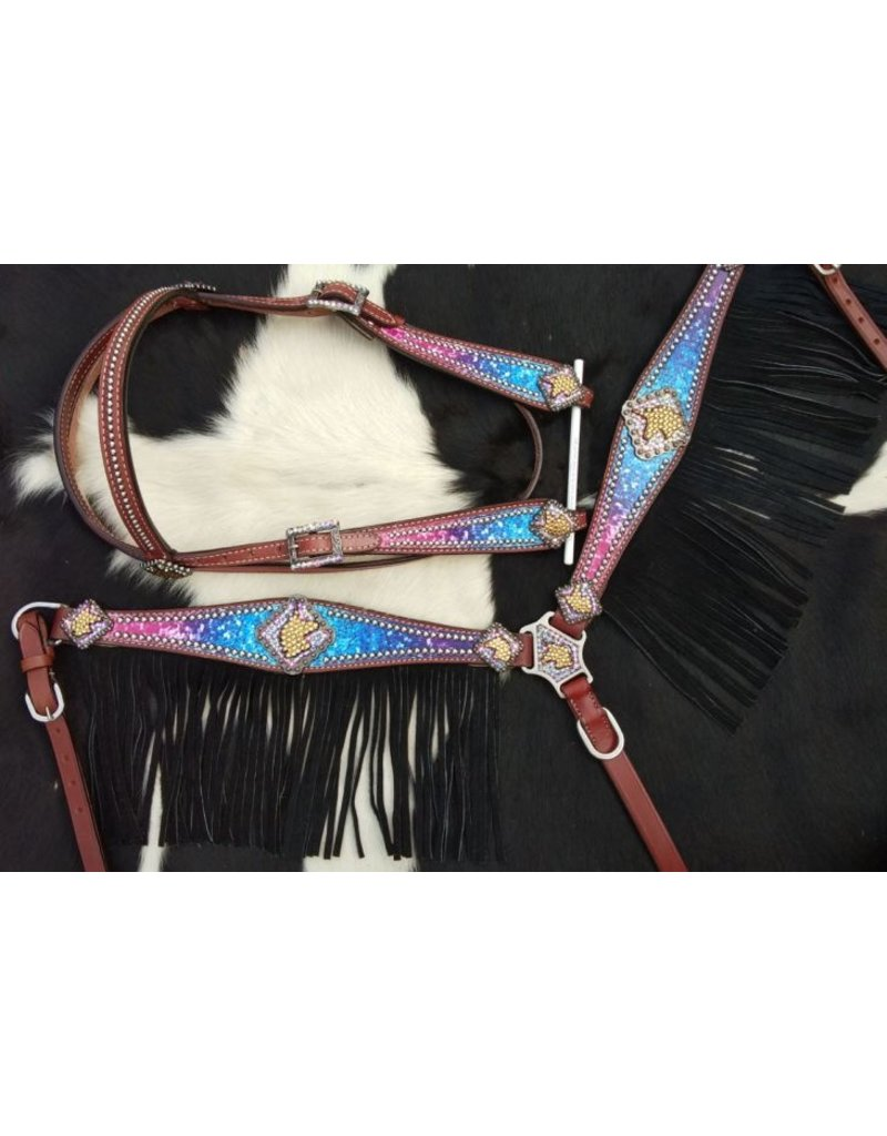 Showman ® Showman ® Galaxy print browband headstall and breastcollar set with unicorn conchos and black suede leather fringe.