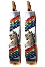 Showman ® Showman ® Pony/Youth polished aluminum stirrup with unicorn concho and rainbow crystal rhinestone stones. Stirrup featrues medium leather tread.