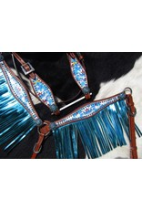 Showman ® Showman ® PONY SIZE Rainbow Unicorn print headstall and breast collar set.