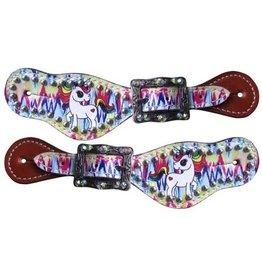 Showman ® Showman ® Youth  Rainbow Unicorn spur straps.