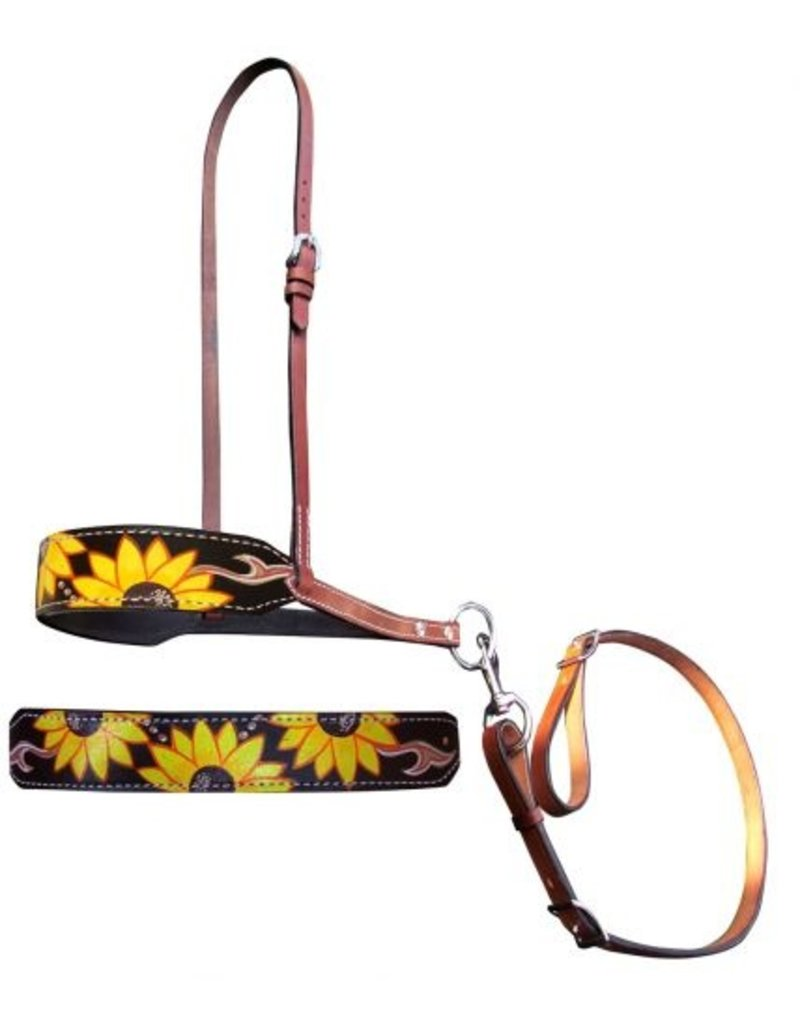 Showman ® Showman ® Hand Painted Sunflower and leather print leather tie down noseband and strap.